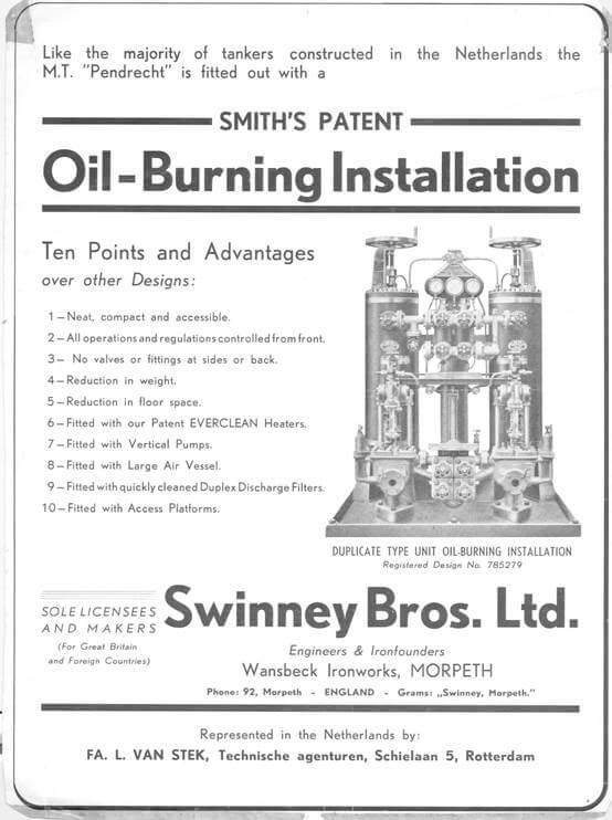 Stookinstallatie, geleverd door firma Van Stek en geproduceerd door Swinney.